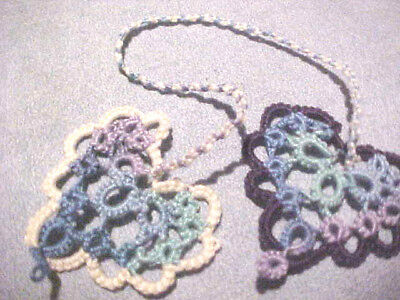 2 Tatted Bookmarks Heart to Heart Variegated Blues Lacey Tatting by Dove Country