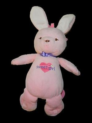 Prestige Baby Pink Bunny Rabbit Sweet Girl Plush Musical Crib Toy Heart