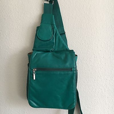 Buxton Crossbody Travel Bag Purse Organizer Expandable Teal Blue Leather Small