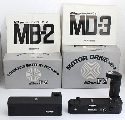 【NEAR MINT In Box】 Nikon MD-3 Motor Drive + MB-2 Battery Pack For F2 From Japan