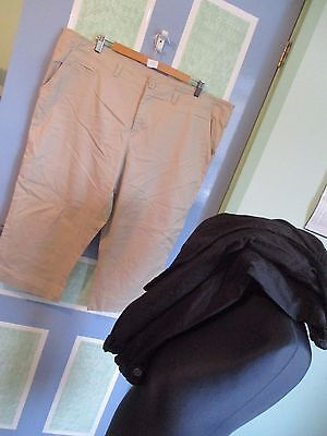 Bundle Of 2 Pairs Of Crops, Size 20, Debenhams/f+F, Black/sand, Exc-Con