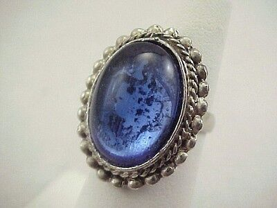 Vintage Ethnic Blue Glass Silver Tone Ring Size 4.75 Boho Adj