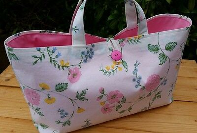 Knitting Bag in Floral Cotton Print, Pink Lining, Hand-made
