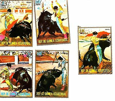 Equatorial Guinea 1975, Bullfight. Five stamps.