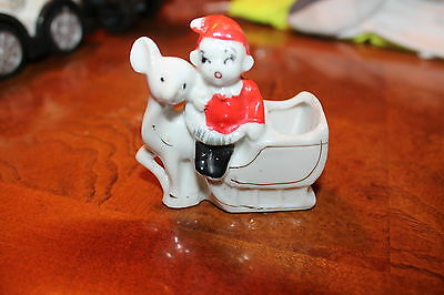 Vintage Toothpick Holder Japan Porcelain Pixie Elf and Mouse Christmas
