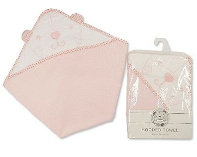 Baby Cotton Hooded Towel Gift With Teddy Embroidery Pink