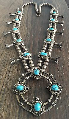 """""""signed"""" Vintage 27"""" Navajo Turquoise & Sterling Silver Squash Blossom Necklace"""