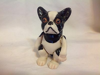 Antique Movable Toy French Bulldog Boston Terrier Porcelain Figurine