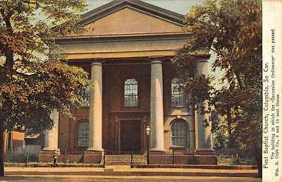 Columbia South Carolina First Baptist Church Street View Antique Postcard K55815