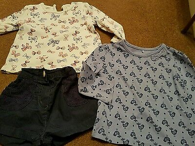 girls 9-12 months top x 2 and shorts