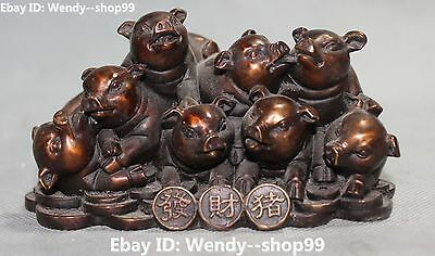 "5"" Chinese Bronze Wealth Money Coin Zodiac Year Animal 8 Pig Hog Swine Statue"