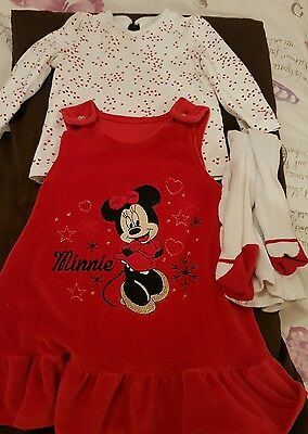 girls 9-12 months top, dress and tights
