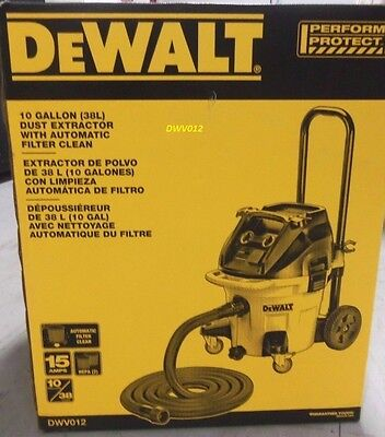 NEW DEWALT DWV012 10-Gallon Dust Extractor with Automatic Filter Clean