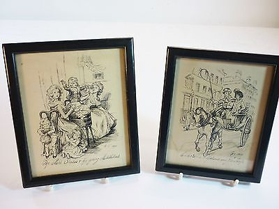 Two Fine Old Original Drawings Jane Austen Characters Framed & Signed - K.T.1920