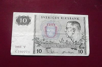 Banknote Sweden 10 Kronor 1966 V C702270 Circulated But Nice Note