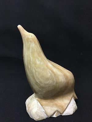 Vintage Hand Carved Gold Biege Marble Stone Seal Figurine