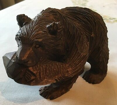 Lovely Vintage Hand Carved Brown Bear Wood Carving Walking Holding Fish.