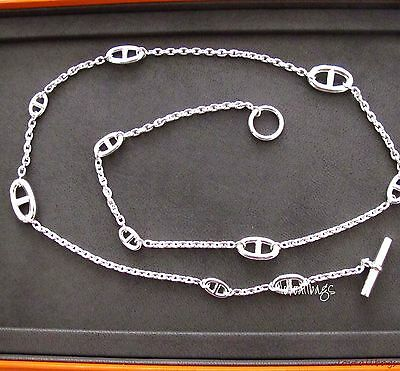 """AUTH HERMES CHAINE D'ANCRE FARANDOLE STERLING SILVER NECKLACE - 31.5"""" or 80CM"""