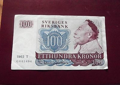 Banknote Sweden 100 Kronor 1965 T G83494 Circulate But Nice Note