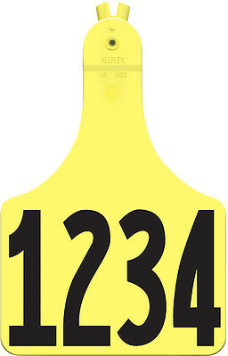 1 - 25* Yellow A-Tag Numbered Cow ID Ear Tags