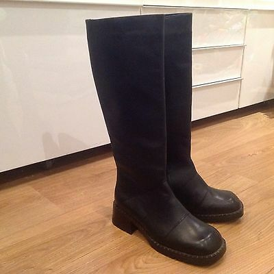 NEW Ladies Real Leather Knee High Black Flat Boots Size Eu 38 Uk 5