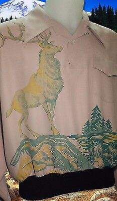 "Vintage 1950's Gaucho Gabardine Shirt Hand Painted Stag Size 38"" 40"" Hollywood"