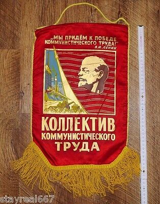Soviet USSR Red Lenin Award Pennant Flag Collective Of Socialism Laborers #42