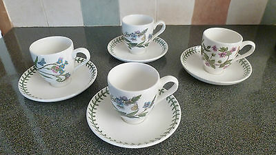 portmeirion botanic garden Coffee Cups and Saucers x 4