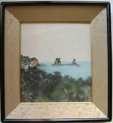 Antique Japanese Watercolor, Coastal Seascape, Signed, Framed, Nice Painting!!!