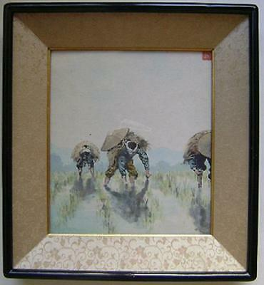Antique Japanese Farmers Watercolor Signed, Framed Painting Nice!!