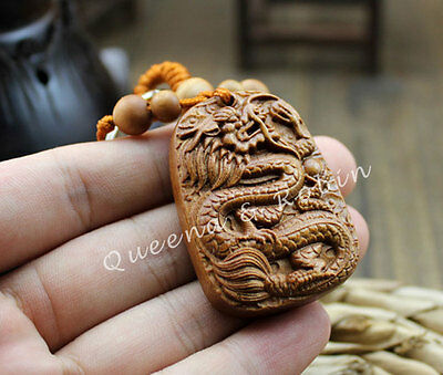 Wood Carving Chinese Geomancy Feng Shui Dragon Loong Statue Pendant Key Chain 龙