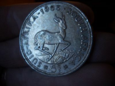 Silver South Africa 5 Shilling  Dated 1953 High Grade Coin