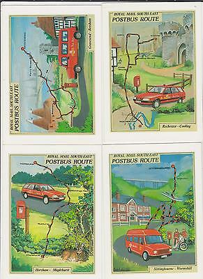 4 Postcards - Royal Mail South East Postbus Route - ( Map ) All Shown.