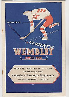 Ice Hockey Programme - Wembley Empire Pool- 1947 - Monarchs V Harringay.