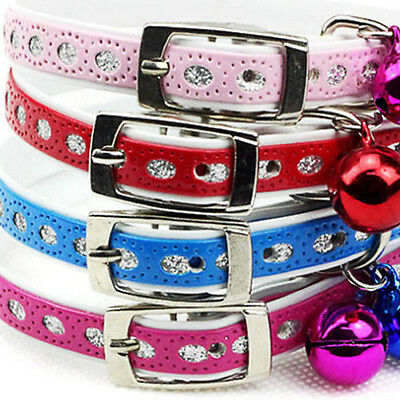 2 X Pet Puppy Cat Dog PU Leather Collar Adjustable Brilliant Bling Bell Buckle