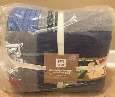 NEW Pottery Barn Teen MLB Baseball League Cooperstown FULL QUEEN Quilt AMERICAN