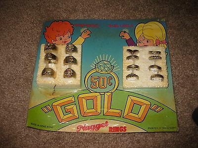 VINTAGE Retro Gumball Header GOLD NUGGET RINGS Toy Charm Prize Display Card