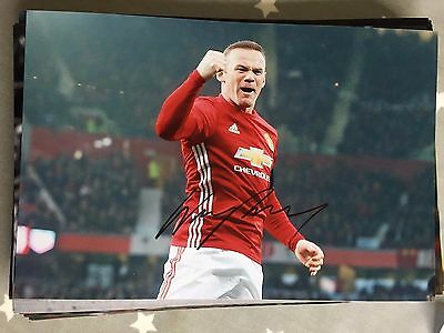 Wayne Rooney Manchester United Fc Red Devils Hand Signed 12X8 Photo