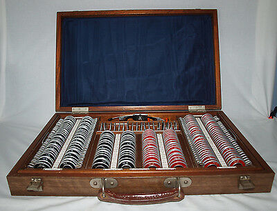 Cased optometrist complete full set of opticians lenses