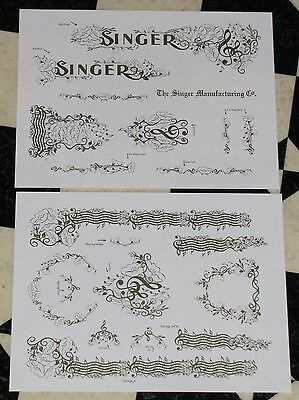 Waterslide Replacement Decals for an Antique Singer Sewing Machine model 15
