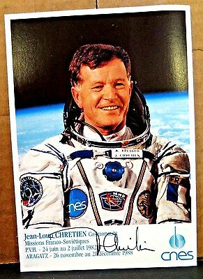 Jean-Loup Chretien signed autographed NASA French Astronaut Cosmonaut Postcard
