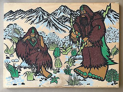 Bigfoot One Original Art Cradled Wood Print Drawing Obey Giant Faile Kaws Rare