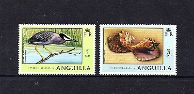 set of 2 mint bird/seashell stamps from anguilla