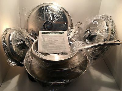 "AMWAY QUEEN Cookware Gourmet Pan Trio Set 8"" 10"" 12"" skillets 18-8 Multi Ply NEW"