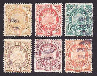 Bolivia 1894 Selection Of 6 (Part Set) Sg63-66,68,69 Fine Used