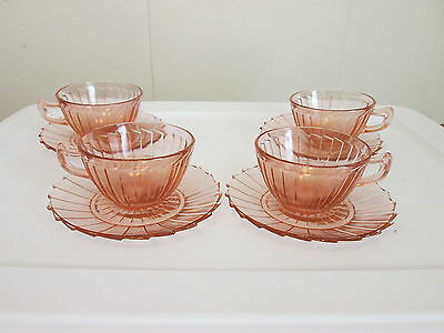 """Set of 4 Pink Sierra """"Pinwheel"""" Cups and Saucers Jeannette Glass"""