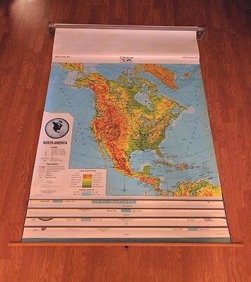 CRAM Pull Down 5 in 1 Map North & South America, Europe, Asia, and Africa 56in W