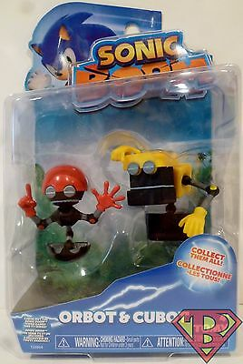 """ORBOT & CUBOT Sonic Boom Sonic The Hedgehog 2"""" inch Action Figure Sega Tomy 2015"""