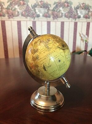 7 inch World Globe On Metal Stand Tabletop
