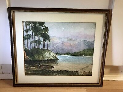 Lovely Signed Vintage 1930's Watercolour Painting Of Lake Scene In Wood Frame